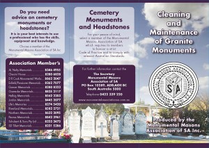 Cleaning Maintenance of Granite Monuments, The Monumental Masons Association of South Australia, Adelaide